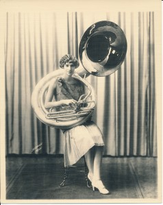 Mildred and sousaphone ca. 1925