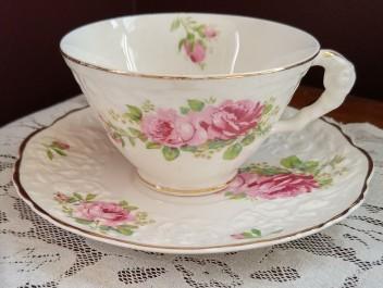pink flowers teacup